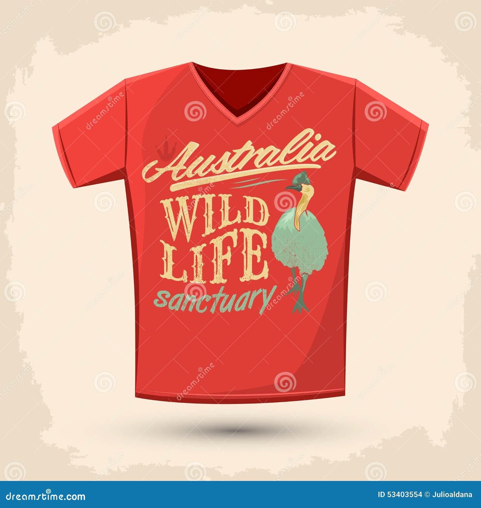 Graphic T Shirt Design Australian Wild Life Sanctuary Stock