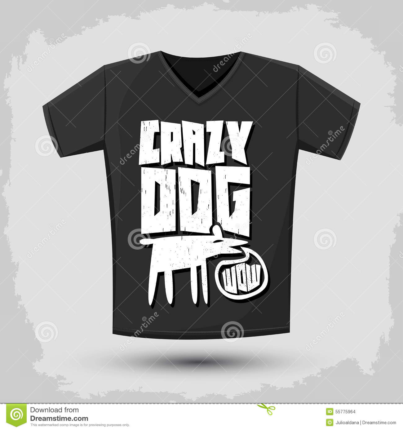 Graphic t shirt design crazy dog vector typographic for Crazy t shirt designs
