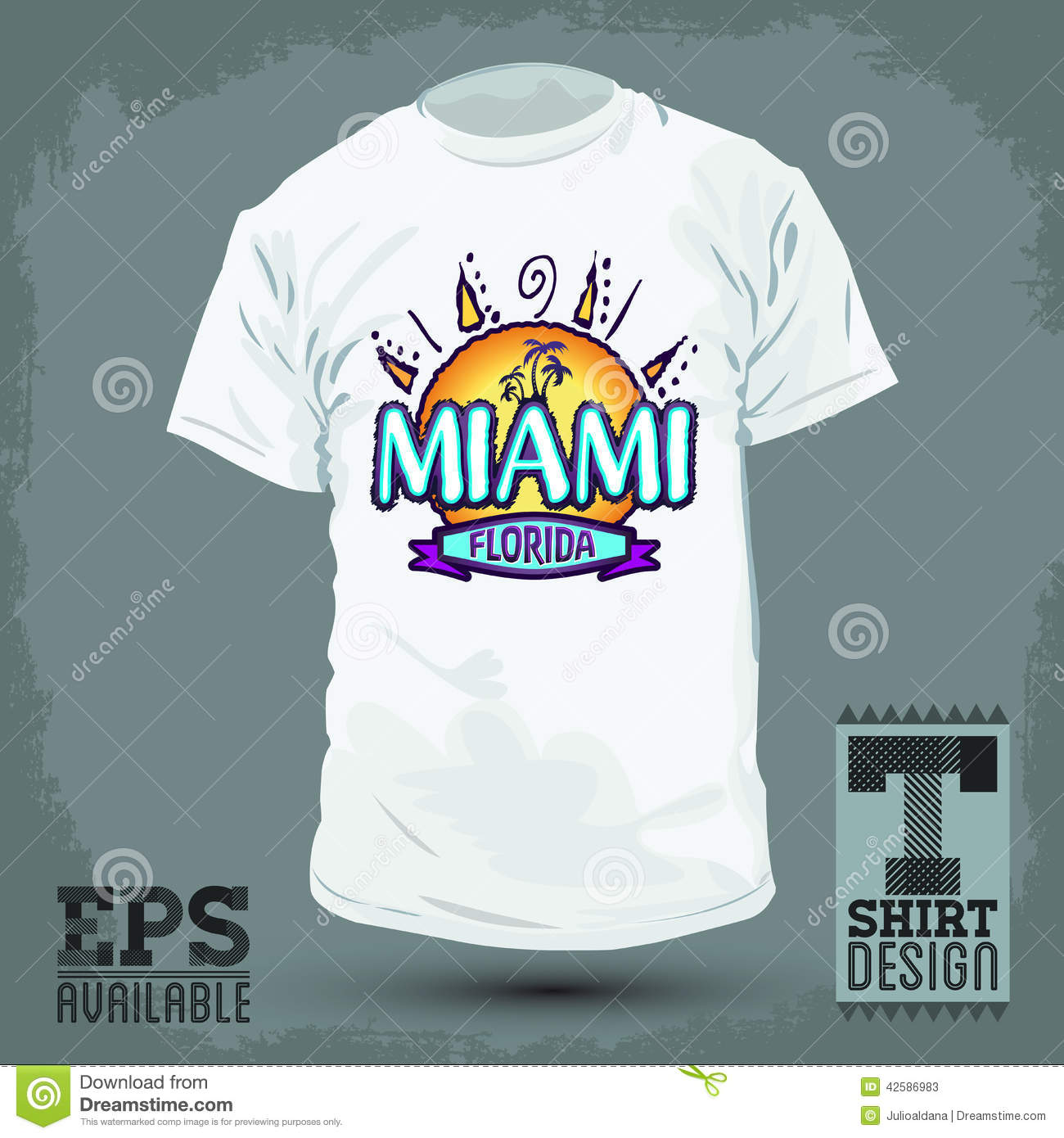 graphic t shirt design miami florida stock vector