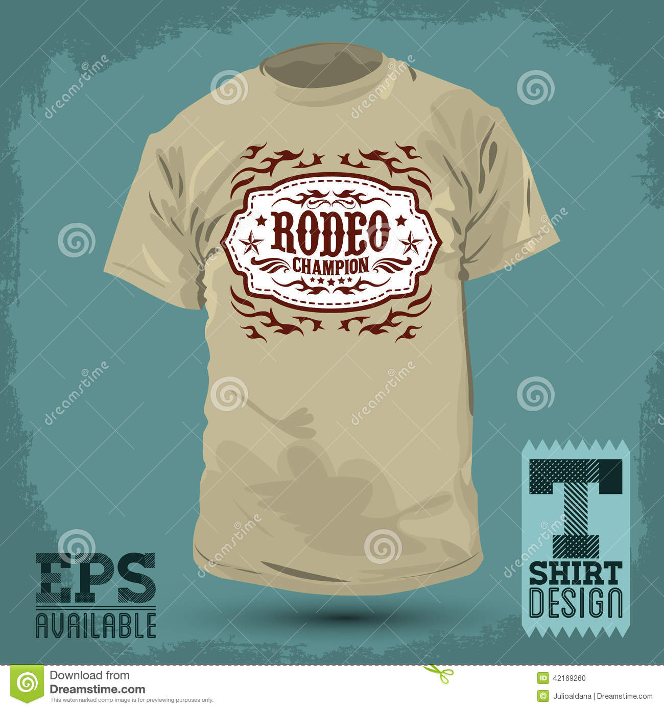Graphic t shirt design rodeo champion badge stock for Stock t shirt designs