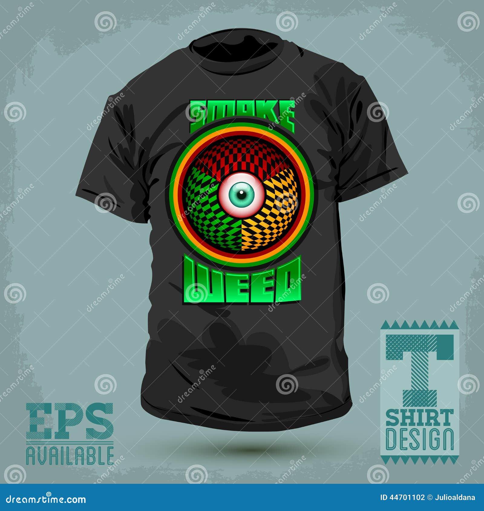 Shirt design red - Graphic T Shirt Design Smoke Weed Badge Red Eye Icon
