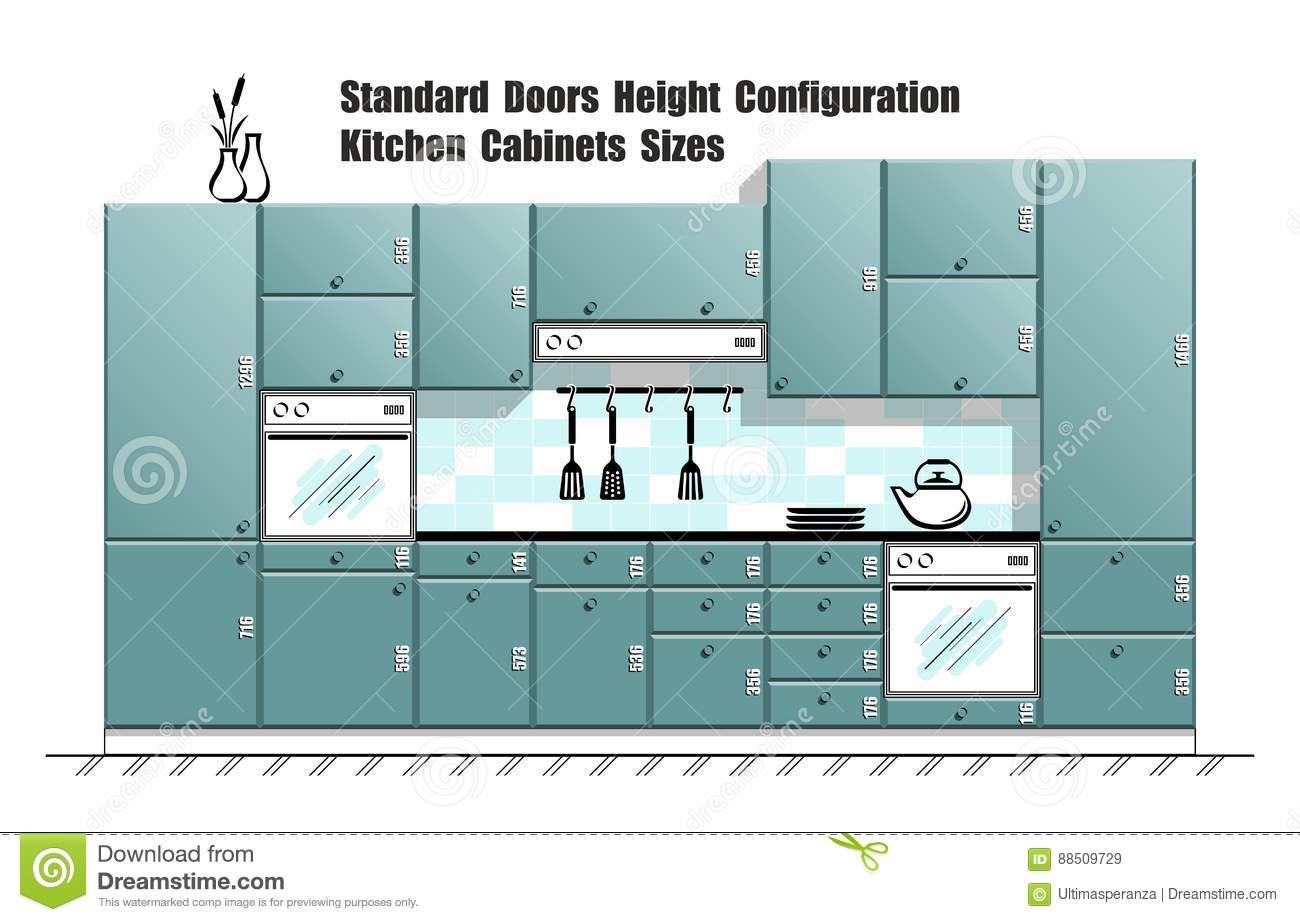 Graphic Table With Standard Door Sizes, Kitchen Cabinets Planner ...