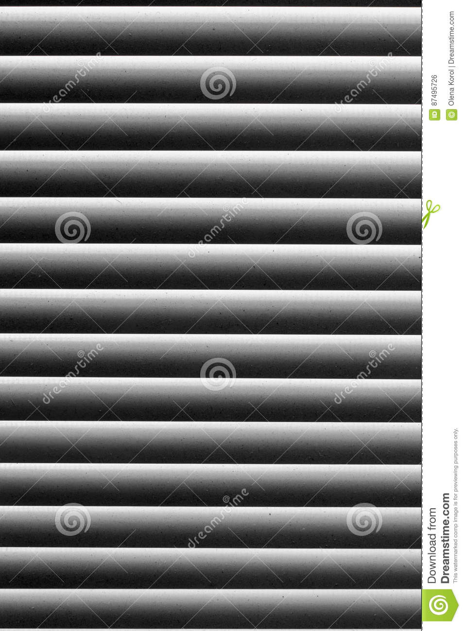 Graphic texture in black and white abstract striped pattern. Blinds on the window with the dust on the light strips