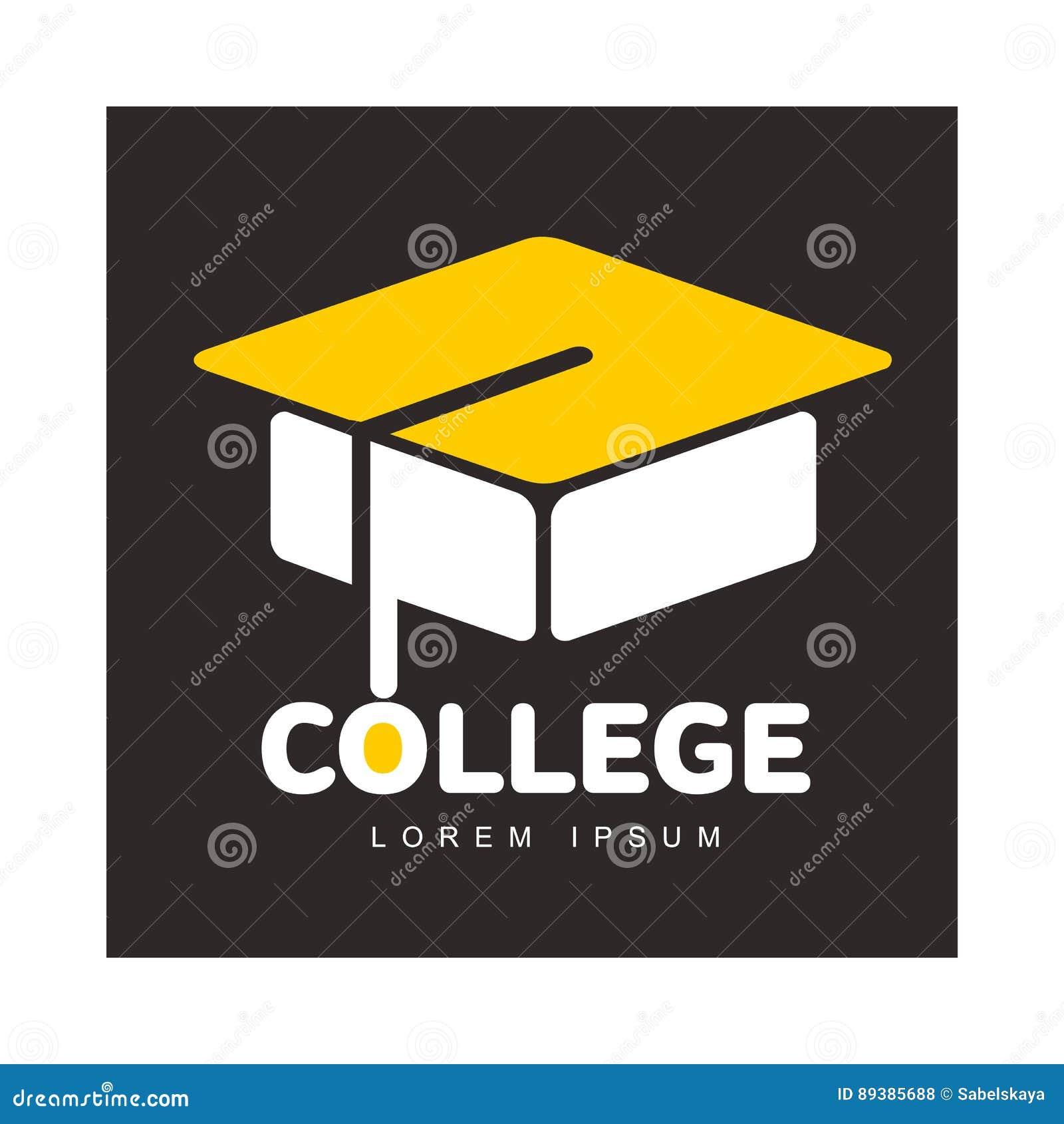 graphic three colored square academic graduation cap logo template