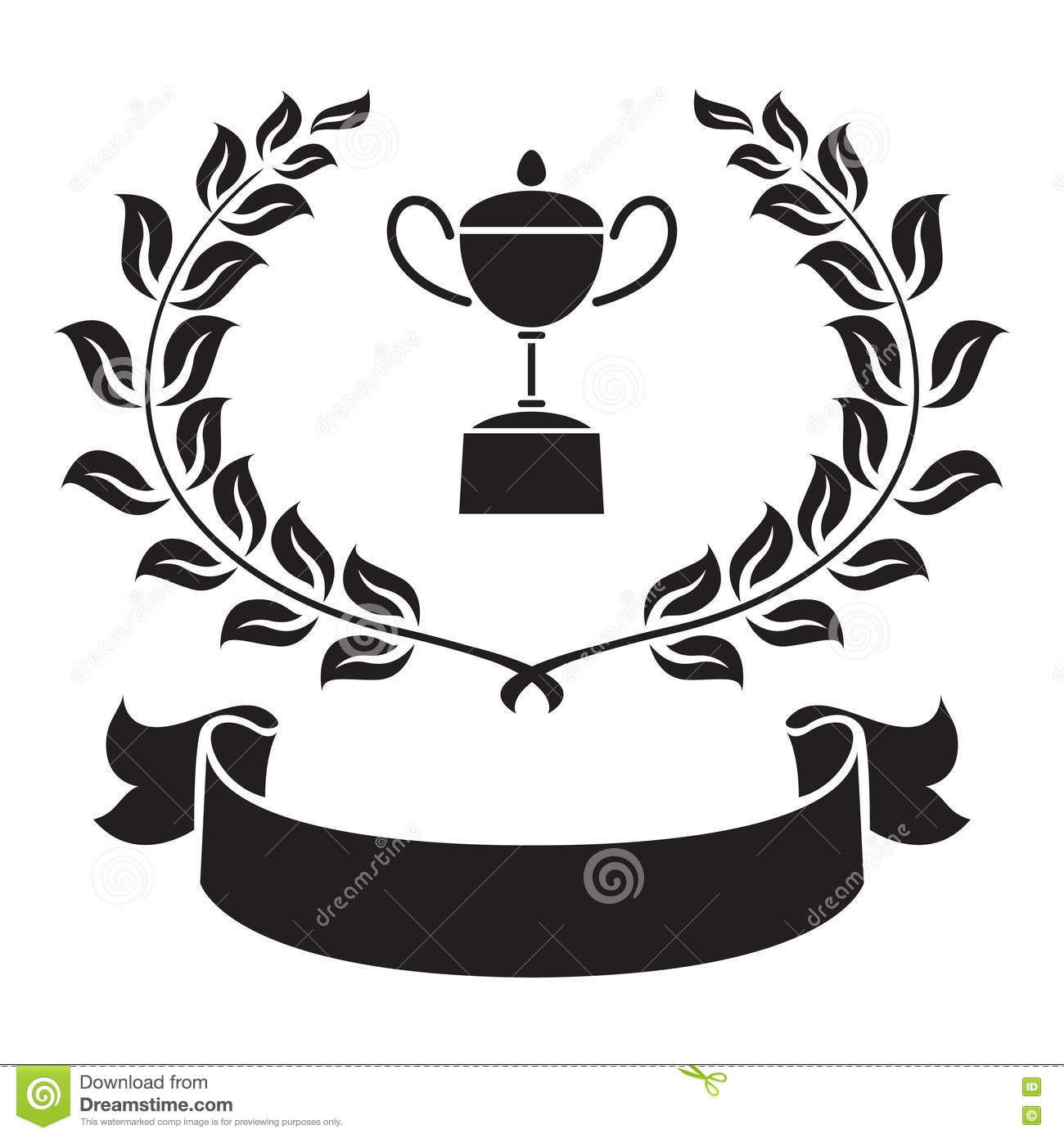 Graphic Trophy Olive Leaf And Ribbon Vector Stock