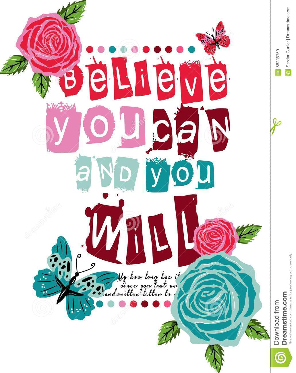 Graphic Vector Design Believe You Can And You Will Stock