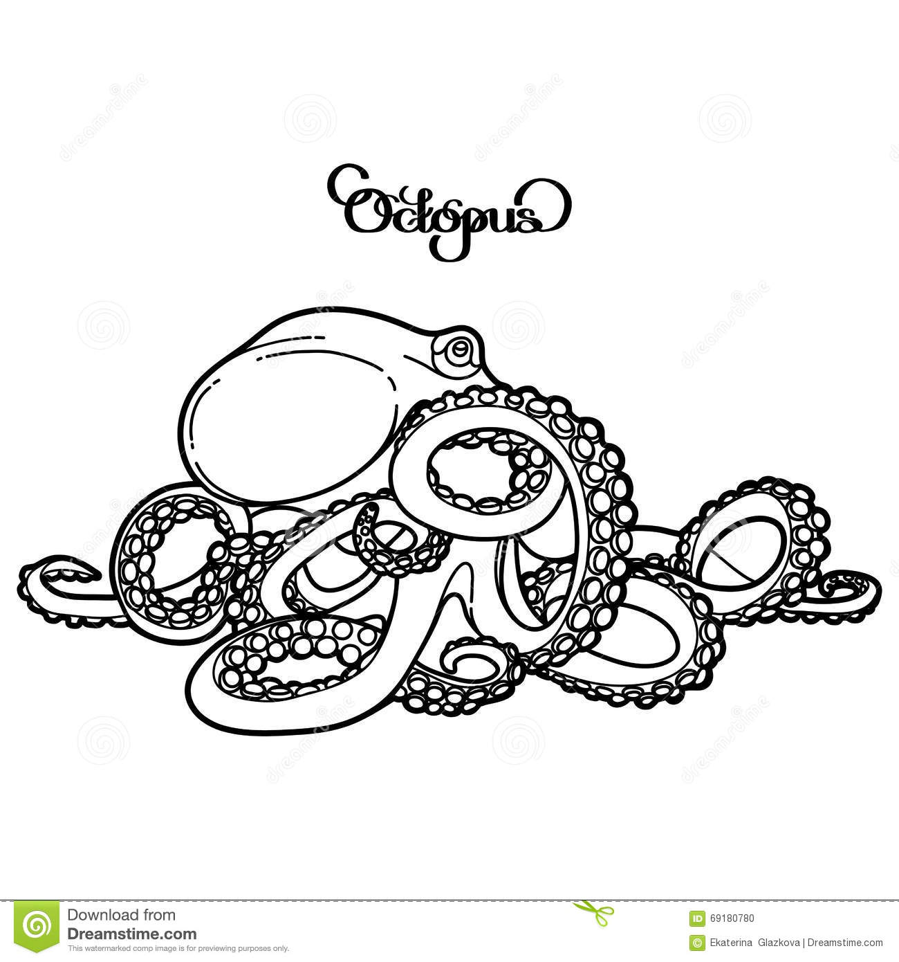 ocean background coloring pages - graphic vector octopus stock vector image of aquarium