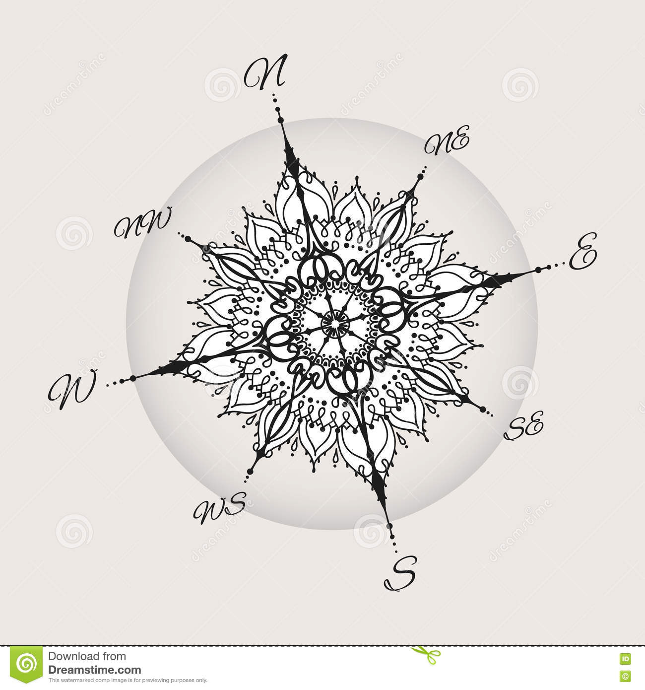 Graphic Wind Rose Compass Drawn With Floral Elements Stock Vector ...