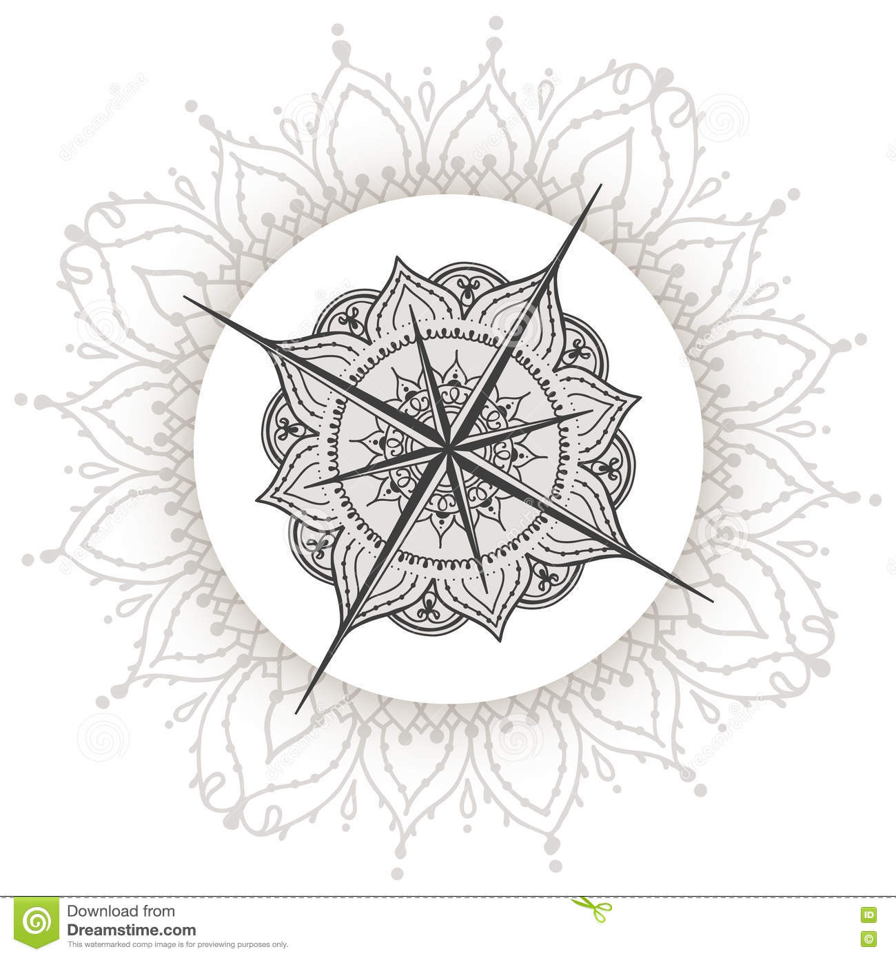 Graphic wind rose compass drawn with floral elements nautical vector illustration can be used for coloring book page design tattoo template