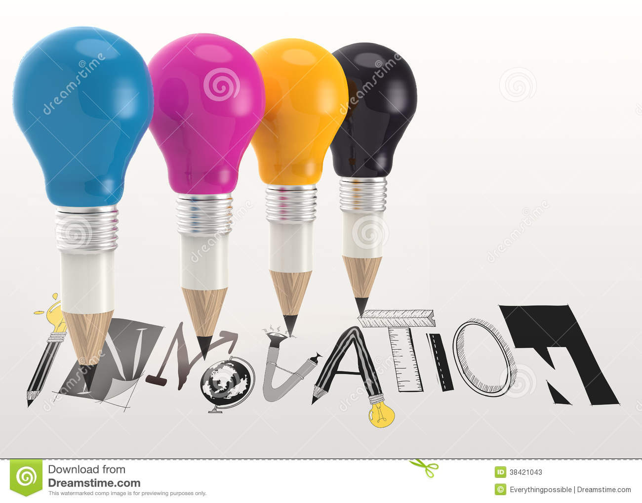 graphic word INNOVATION and 3d pencil light bulb