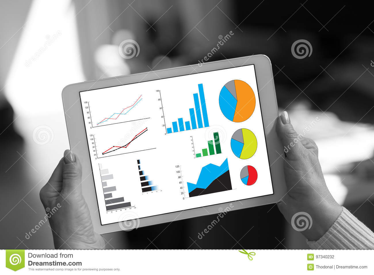 Graphical analysis concept on a tablet