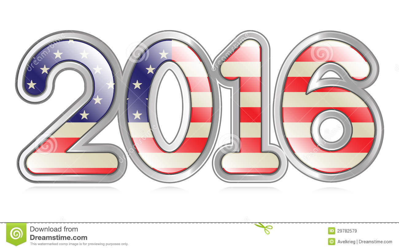 Graphical depiction of the number 2016 with an american flag pattern