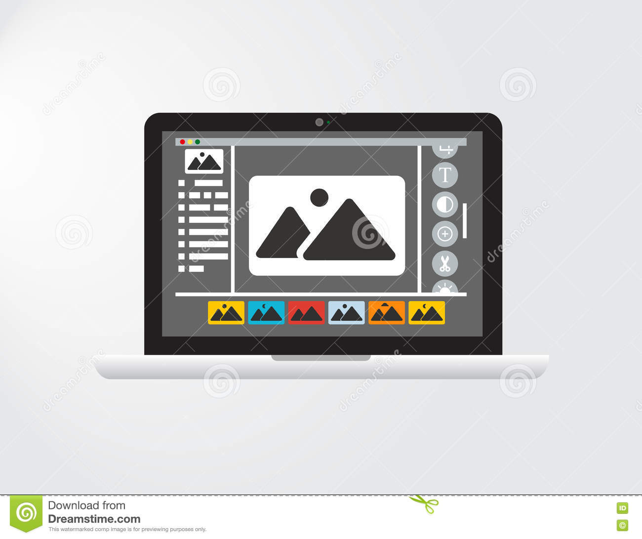 Graphical Interface or GUI of an imagined Photo Editing Software