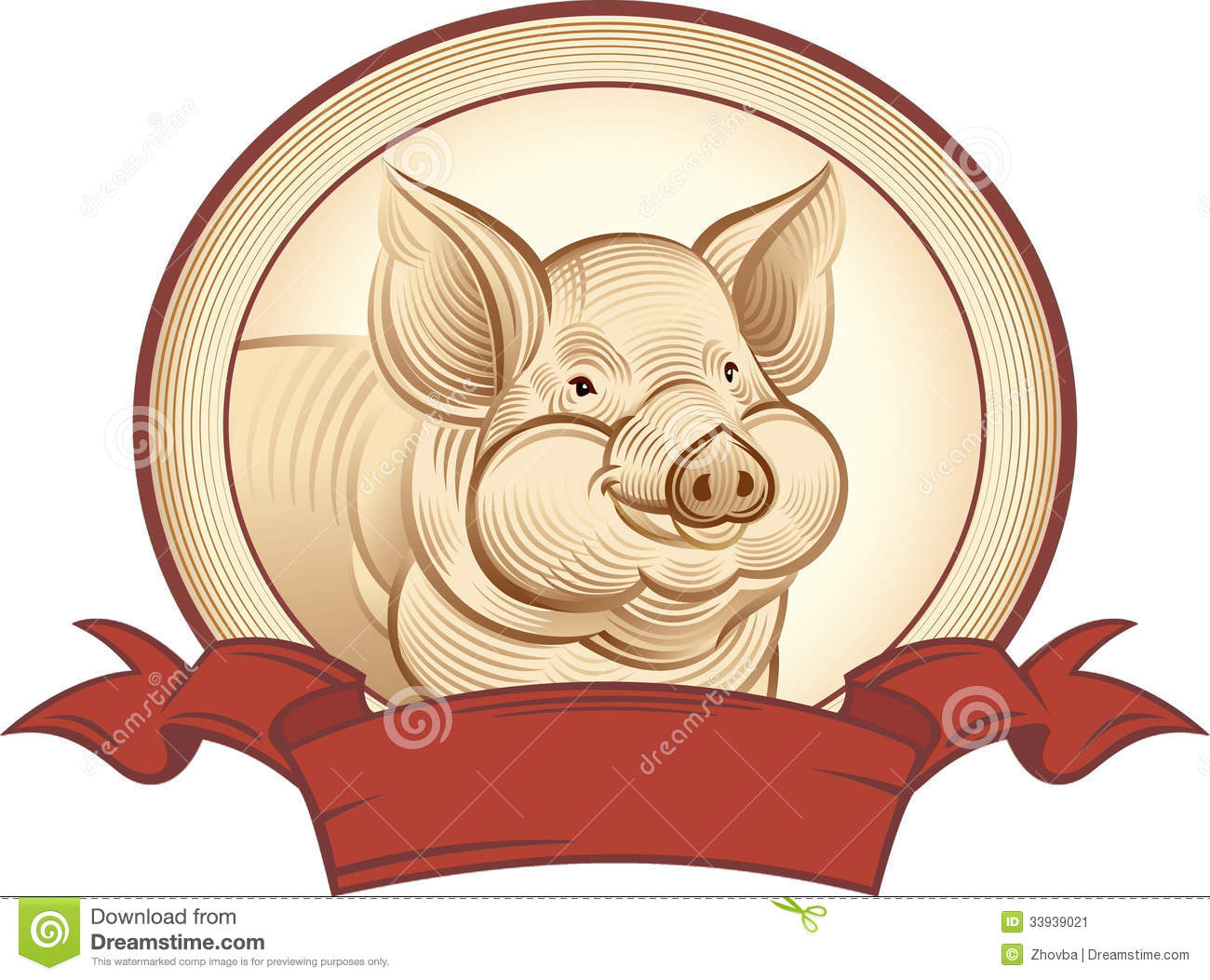 Graphical Pig Stock Image