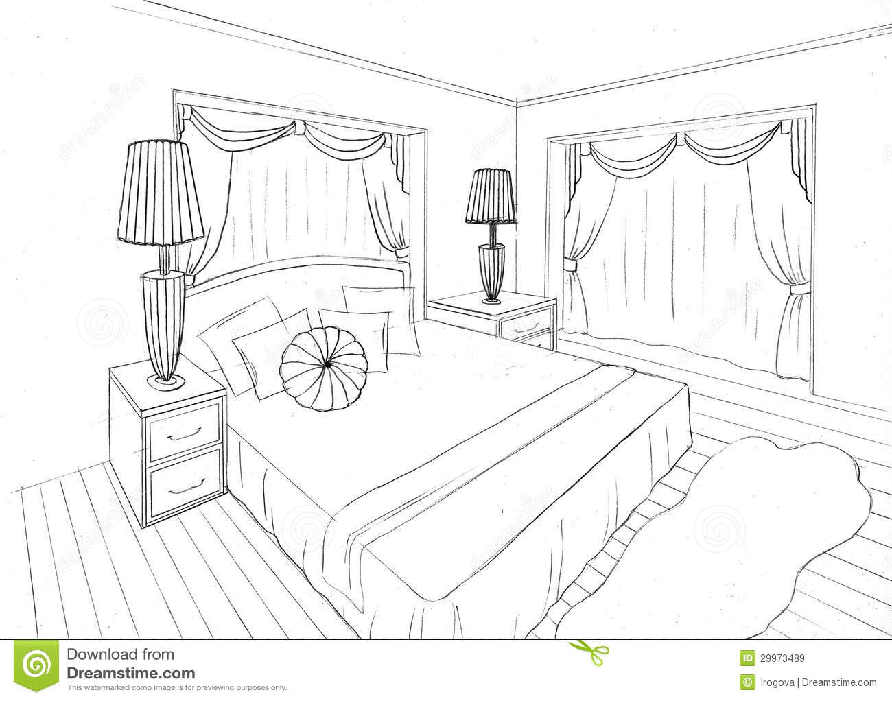 Graphical sketch of an interior apartment royalty free for Bedroom designs sketch