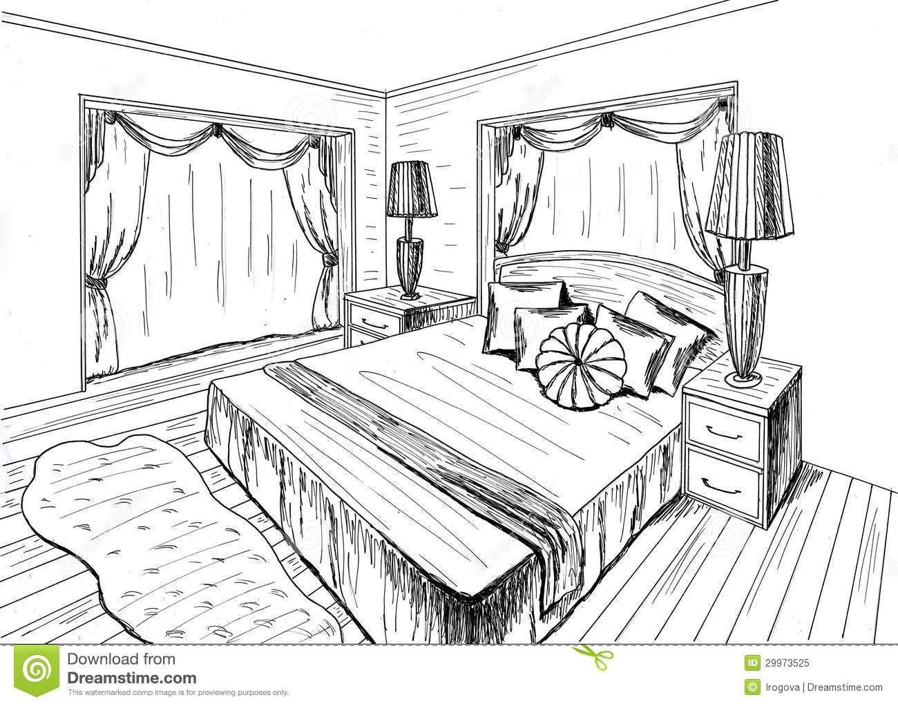 Graphical sketch stock illustration illustration of draft for Bedroom designs sketch