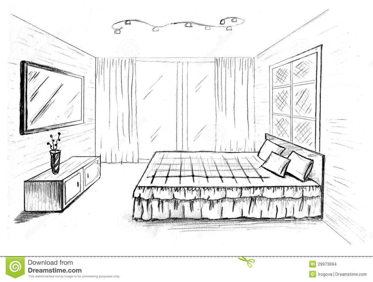 Graphical sketch stock illustration illustration of for Bedroom designs sketch