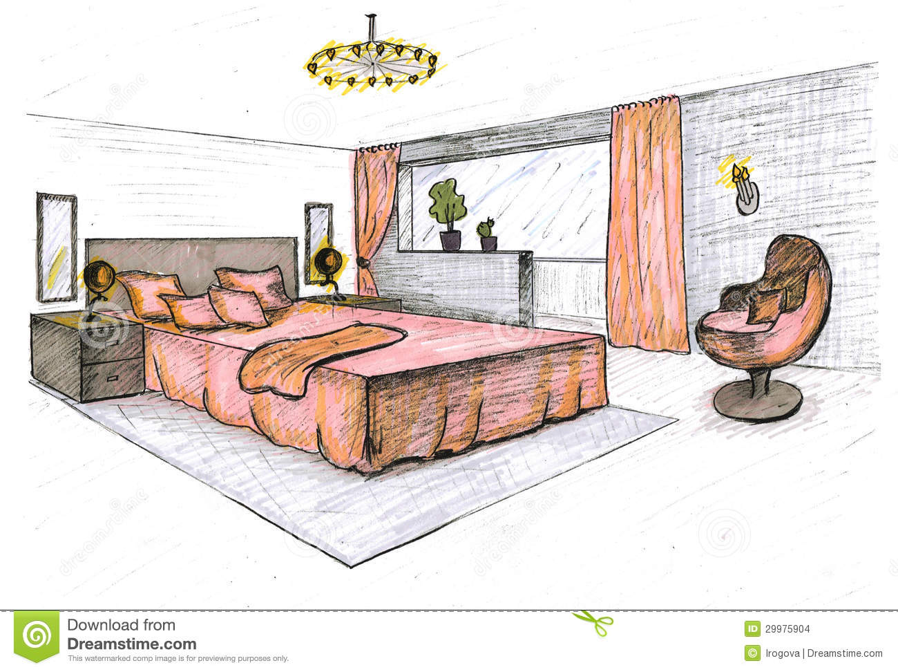 Graphical sketch stock illustration image of contemporary for Dessin architecte interieur