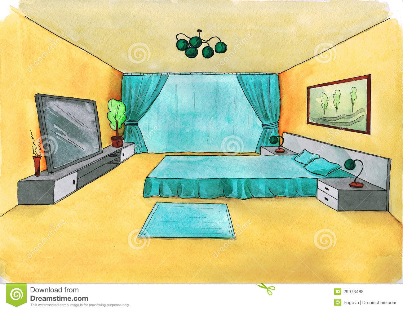 Bedroom drawing with color - Graphical Sketch Of An Interior Bedroom