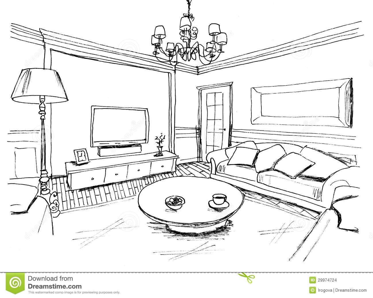 Graphical Sketch Of An Interior Living Room Stock Photo