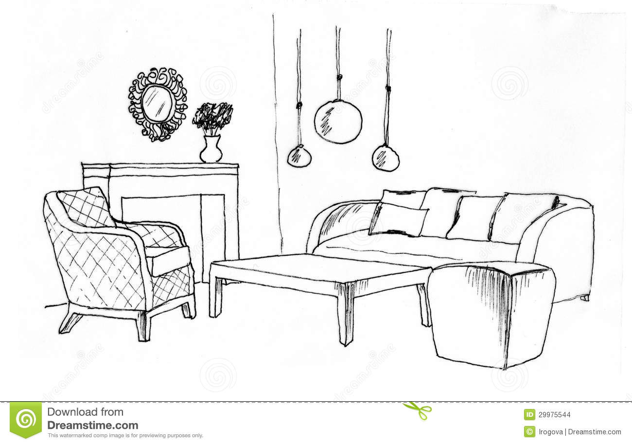Graphical sketch of an interior living room stock for Comedor para colorear