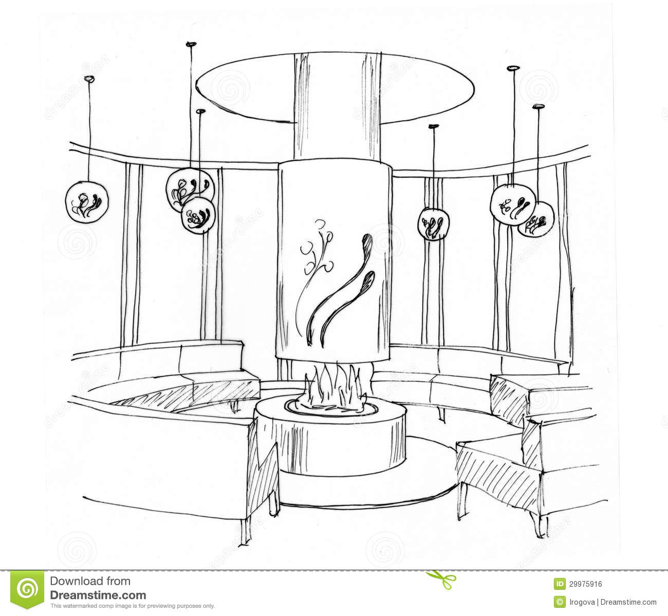 Graphical sketch of an interior living room stock for Online drawing room
