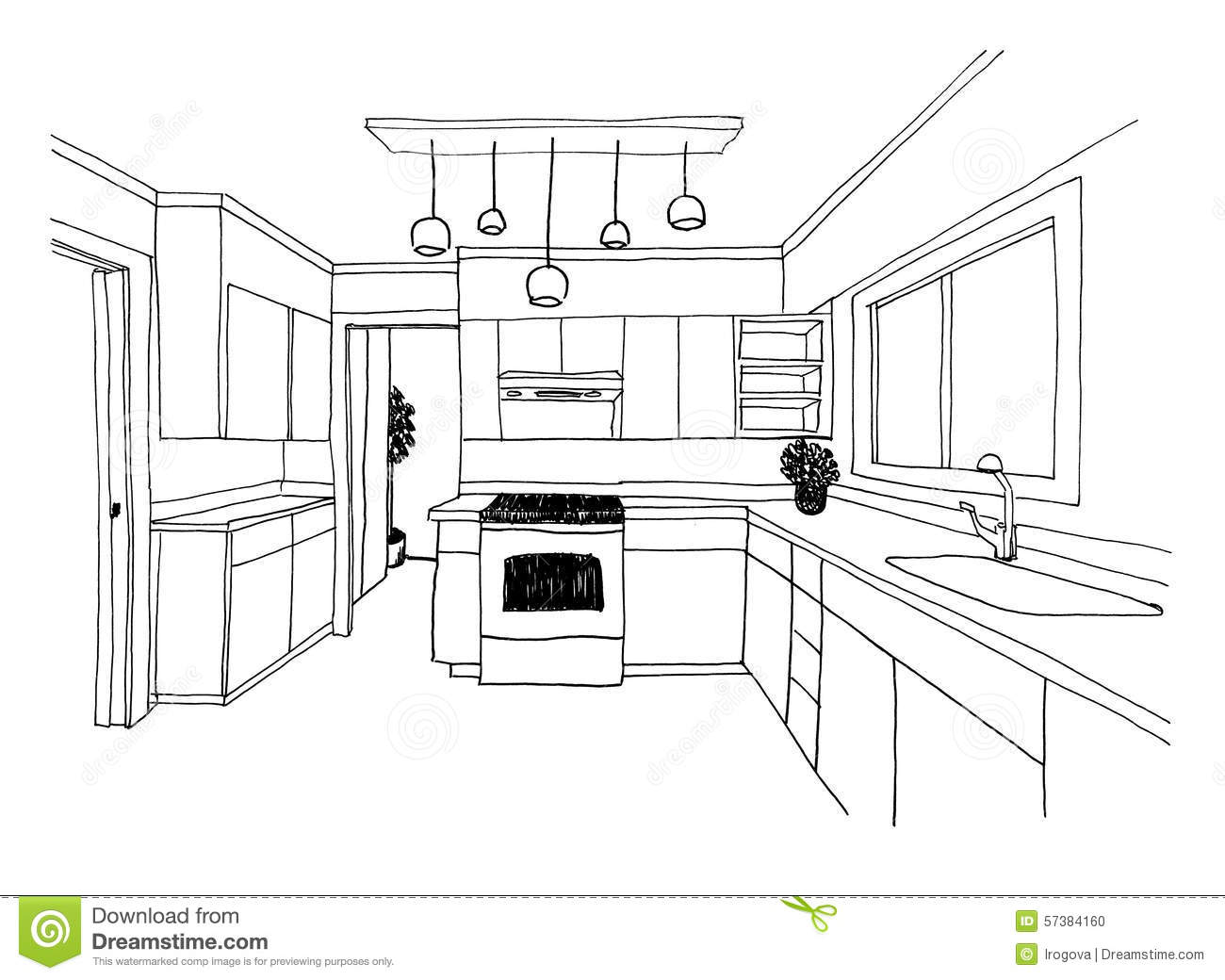 Graphical Sketch The Kitchen Stock Illustration Image