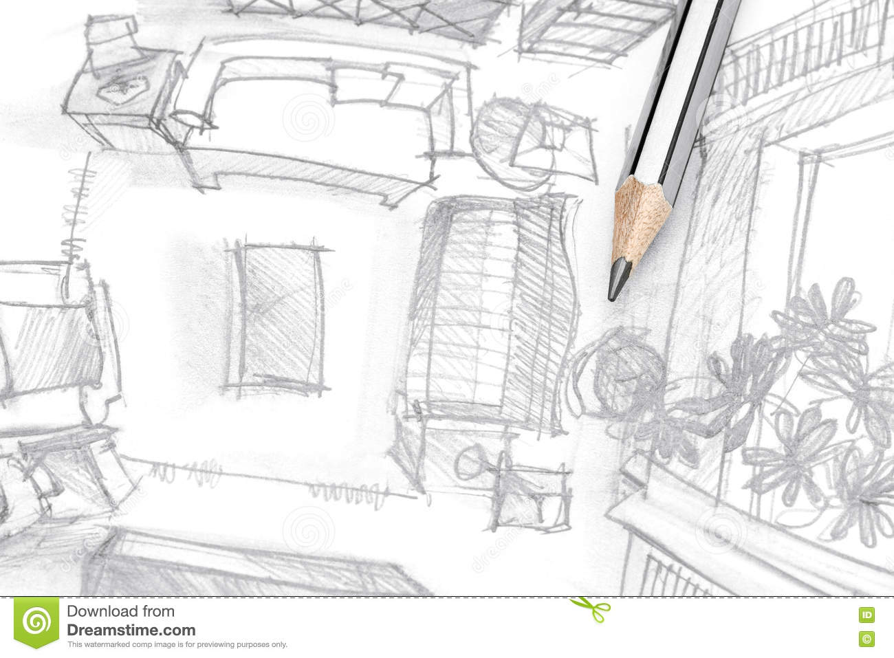 Graphical sketch of living room furniture with pencil top view