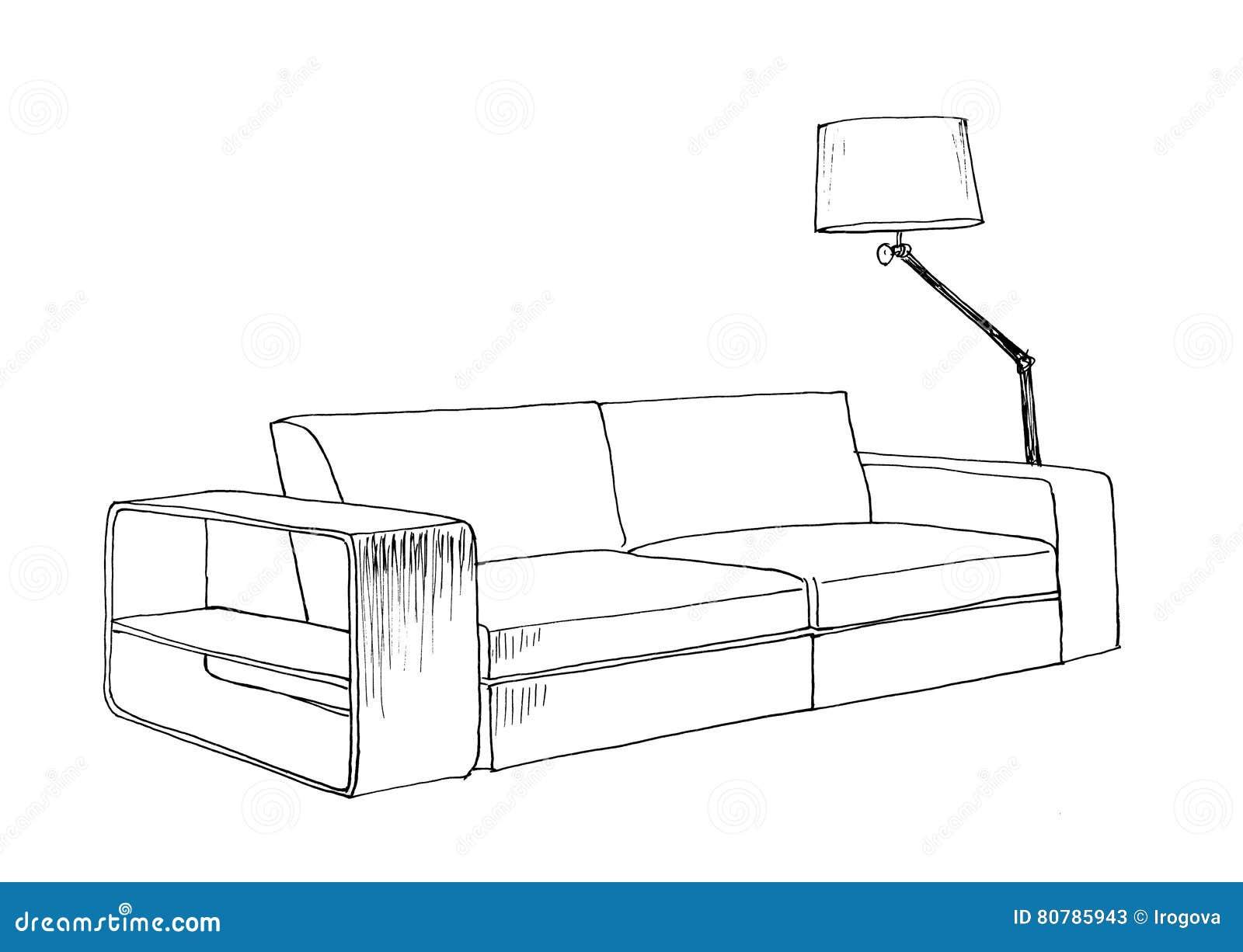 Line Art Floors : Graphical sketch of modern sofa stock illustration image