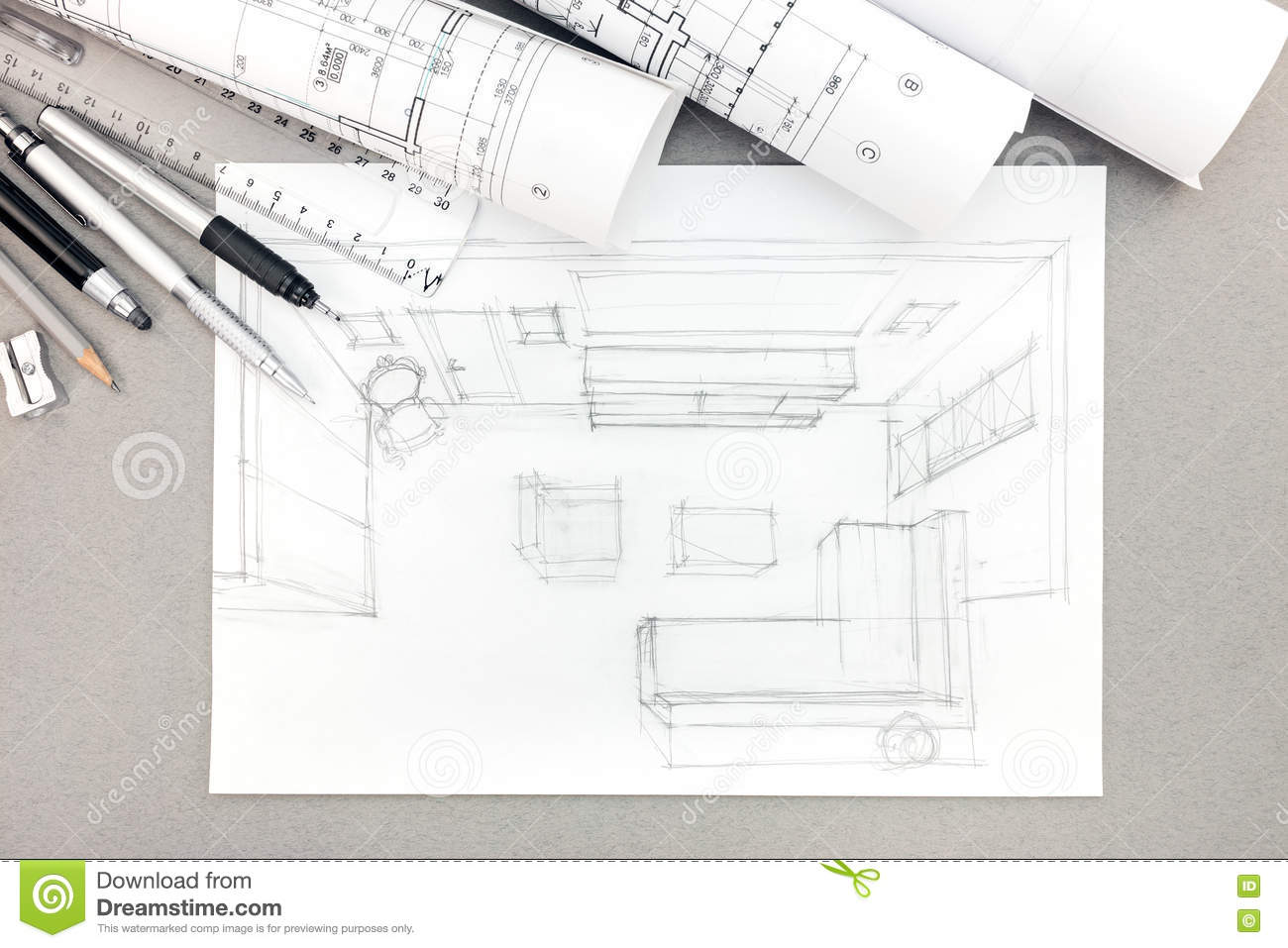 Graphical Sketch By Pencil Of Interior Living Room With Drawing ...