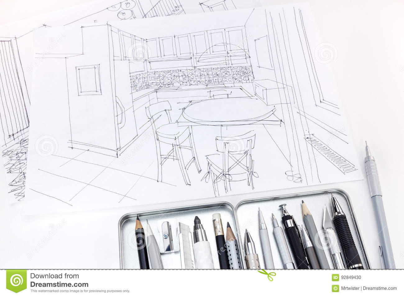 Graphical Sketches Of Modern Kitchen Interior With Drawing Tools