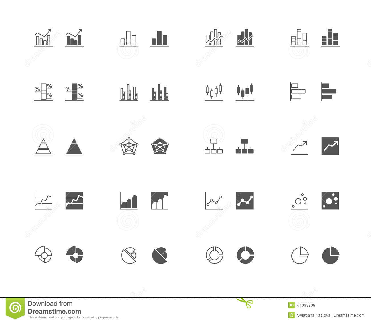 Graphics And Chart Outline And Filled Icon Set Stock ...