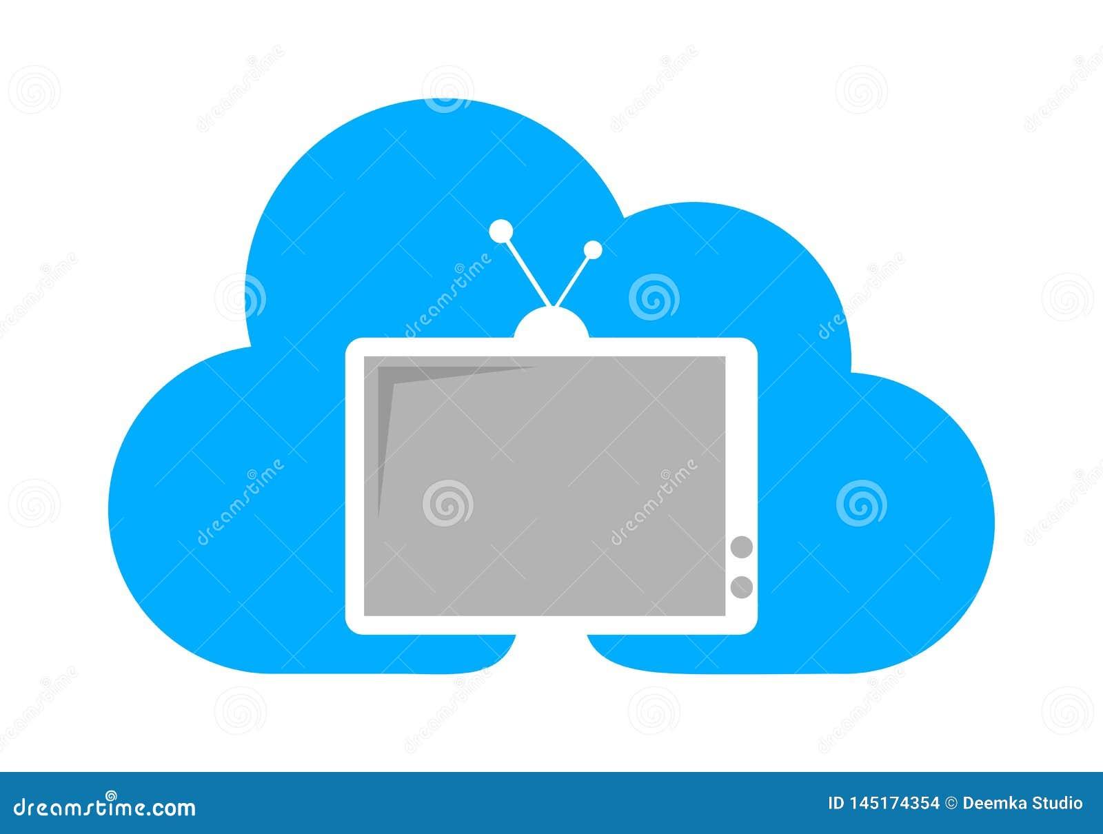TV cloud concept logo stock illustration  Illustration of