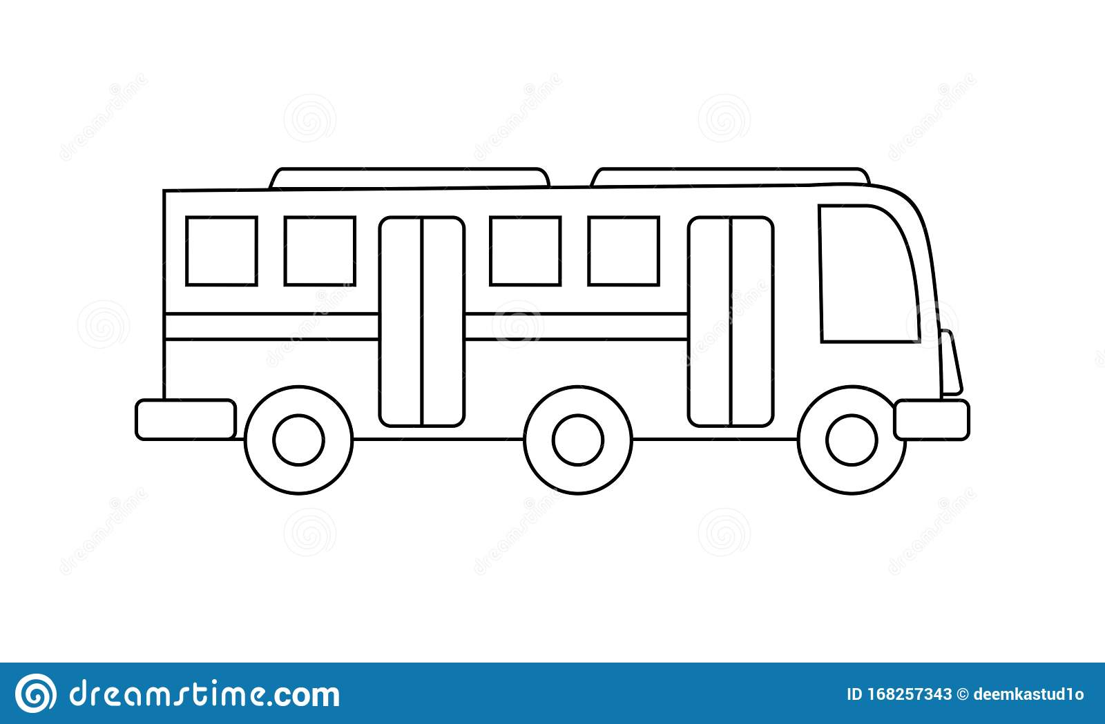 Bus Coloring Book Transportation To Educate Kids Learn Colors Pages Stock Vector Illustration Of File Educate 168257343