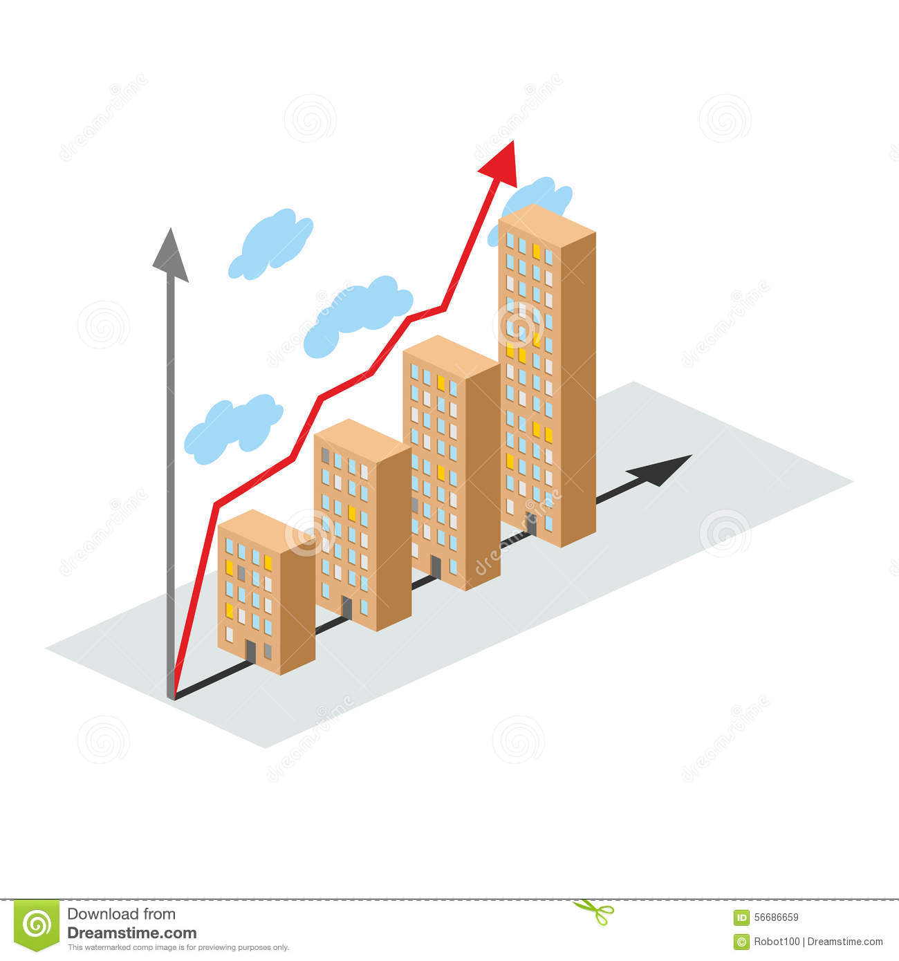 Graphics Construction Growth  Buildings Of City  And