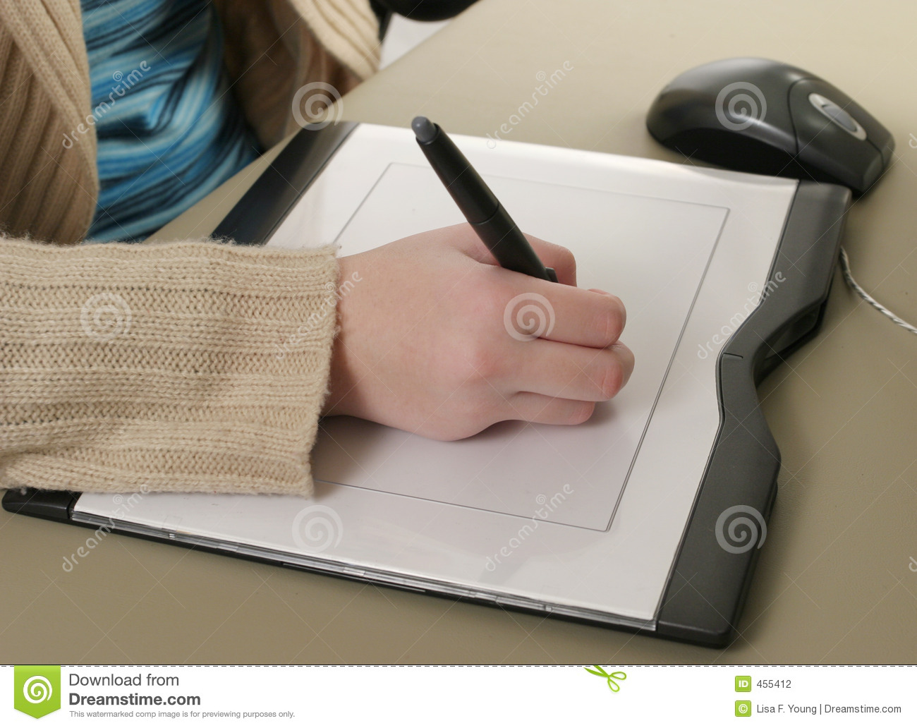 Download Graphics Tablet Closeup stock photo. Image of mouse, hand - 455412