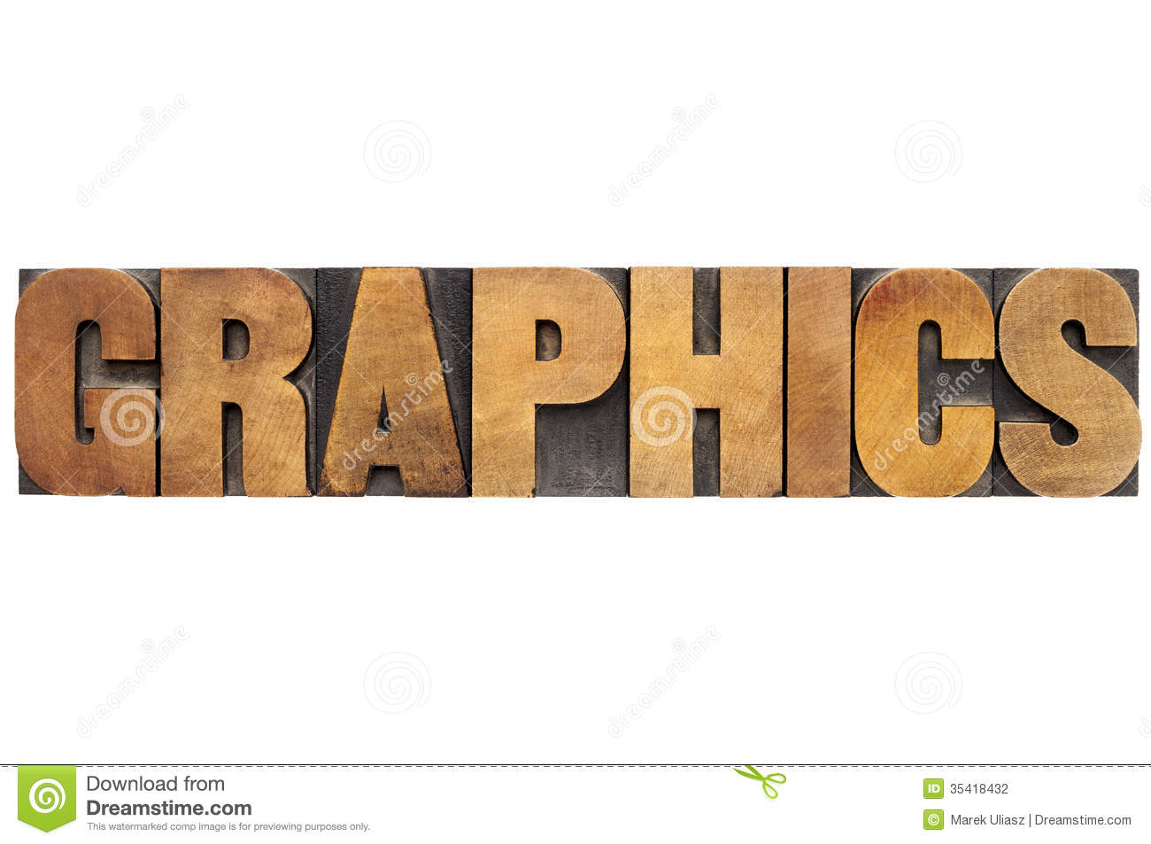 Graphics Word In Wood Type Stock Photography Image 35418432