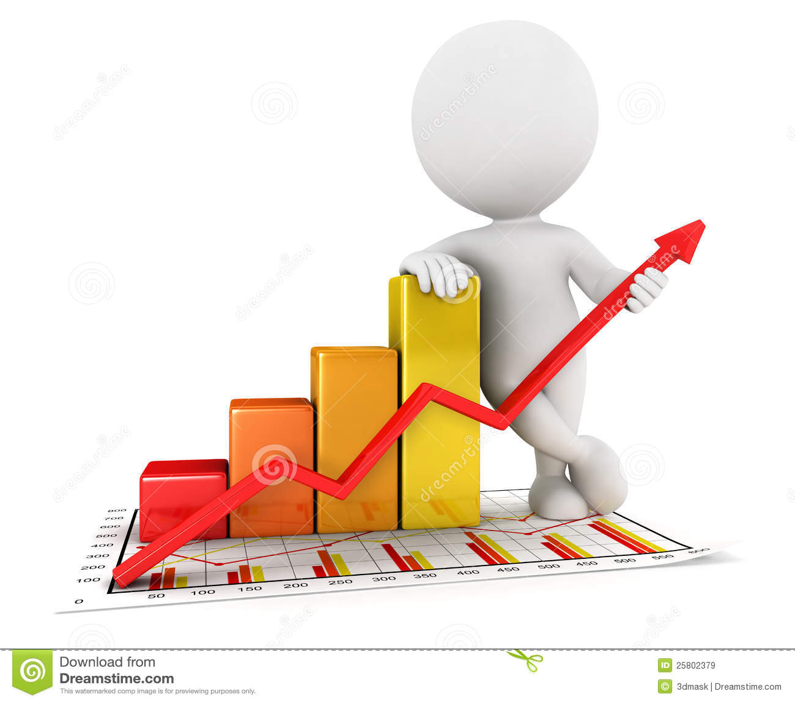 Graphique blanc de statistiques commerciales des gens 3d for Architecture graphique