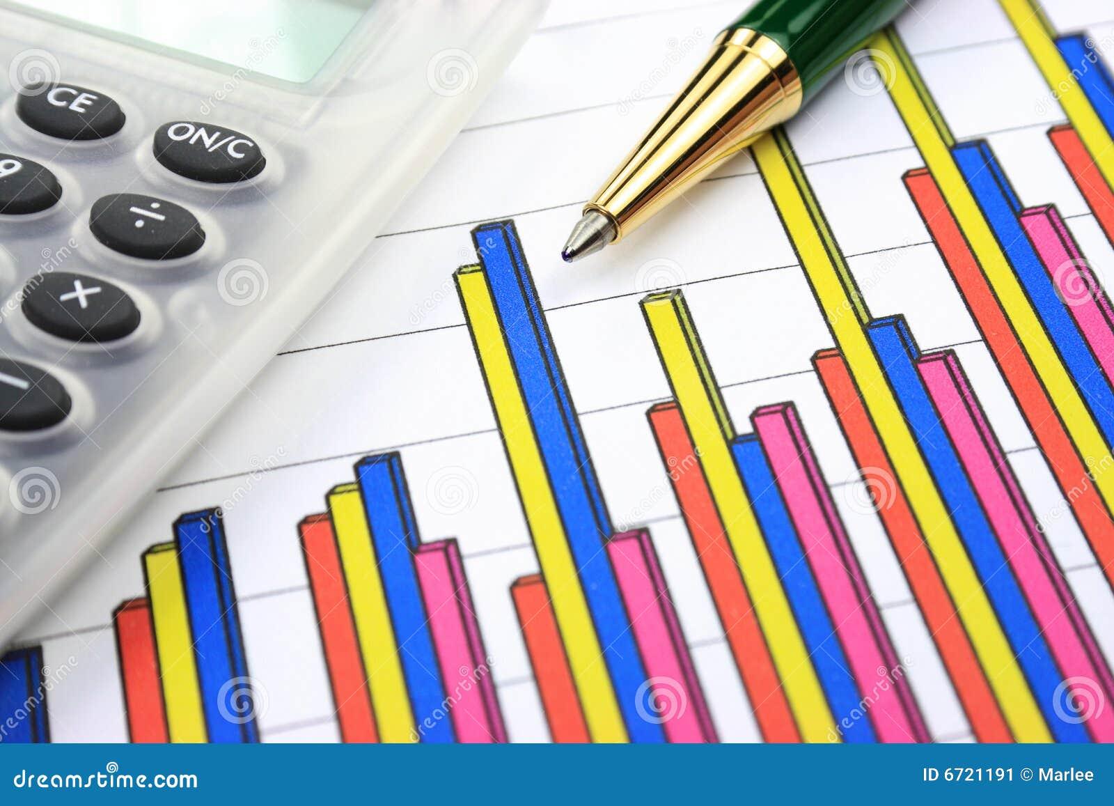 Graphique, calculatrice et crayon lecteur de gestion