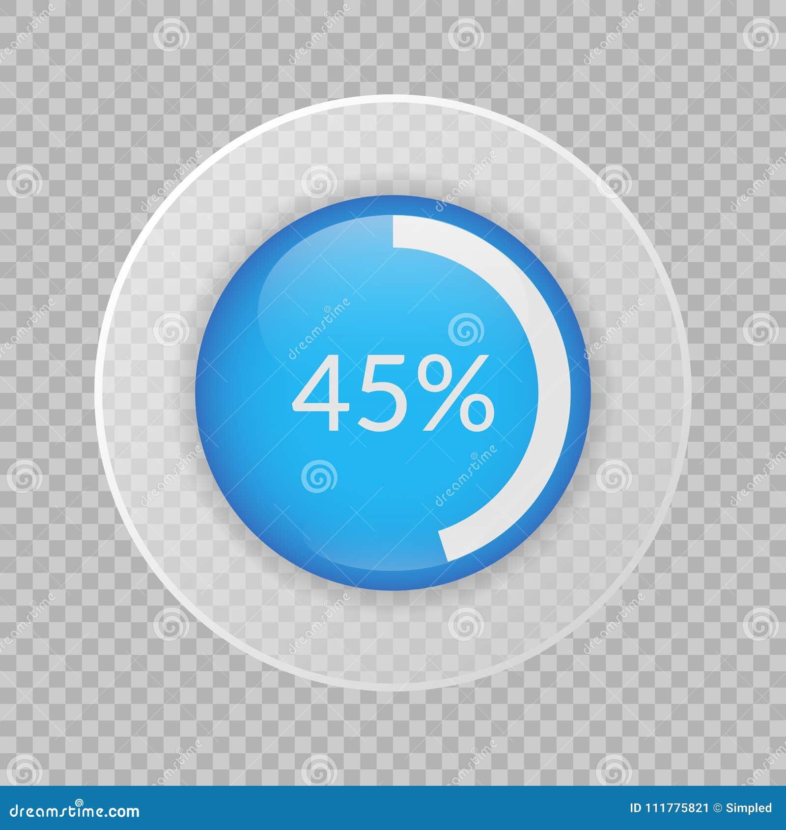 Graphique circulaire de 45 pour cent sur le fond transparent Icône de vecteur de pourcentage pour des affaires
