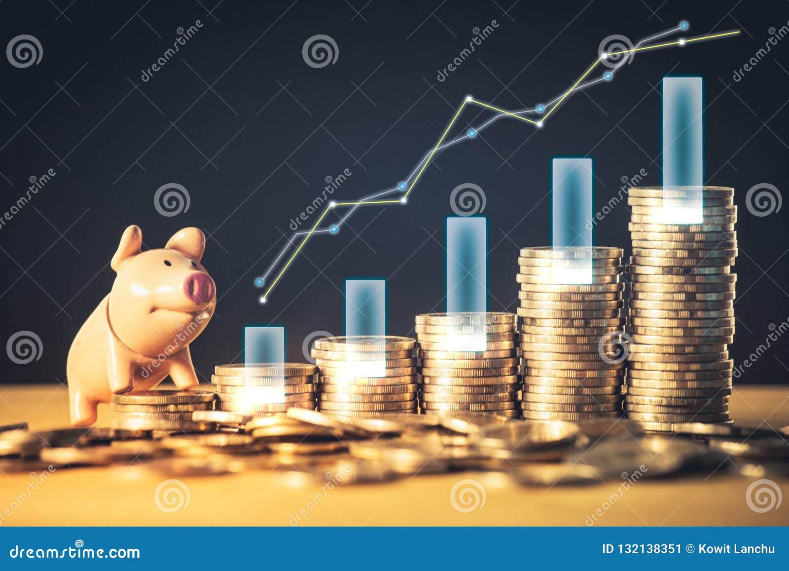 Graphique courant d économie de placement ou d argent et tirelire sur des pièces de monnaie Fond pour des idées et la conception