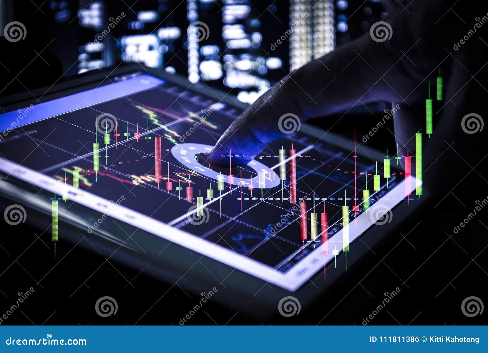 Graphique de chandelier sur le comprimé, les affaires et le concept financier