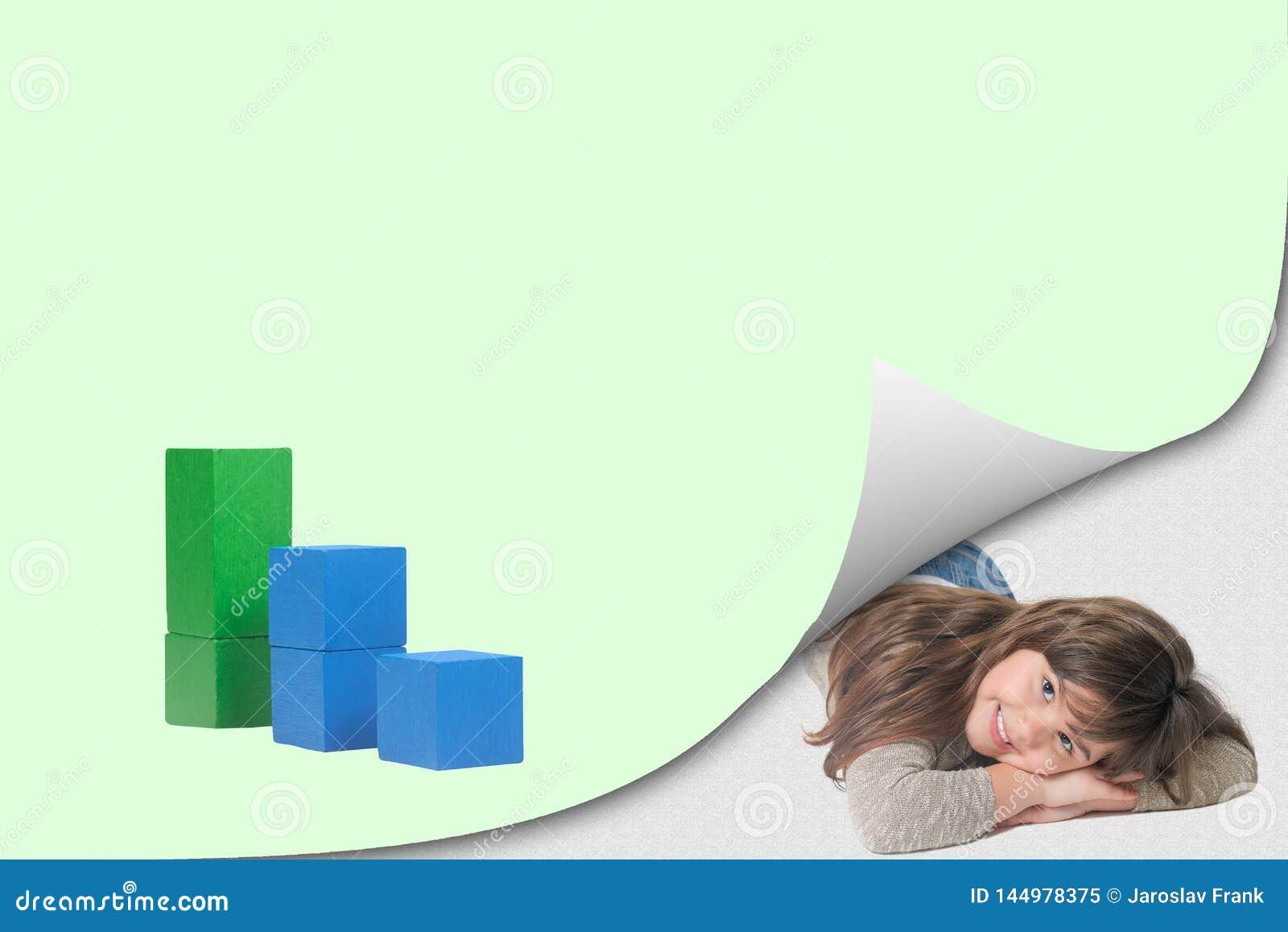 Graphique de concept d écologie à la page avec l effet de boucle et la petite fille mignonne de sourire