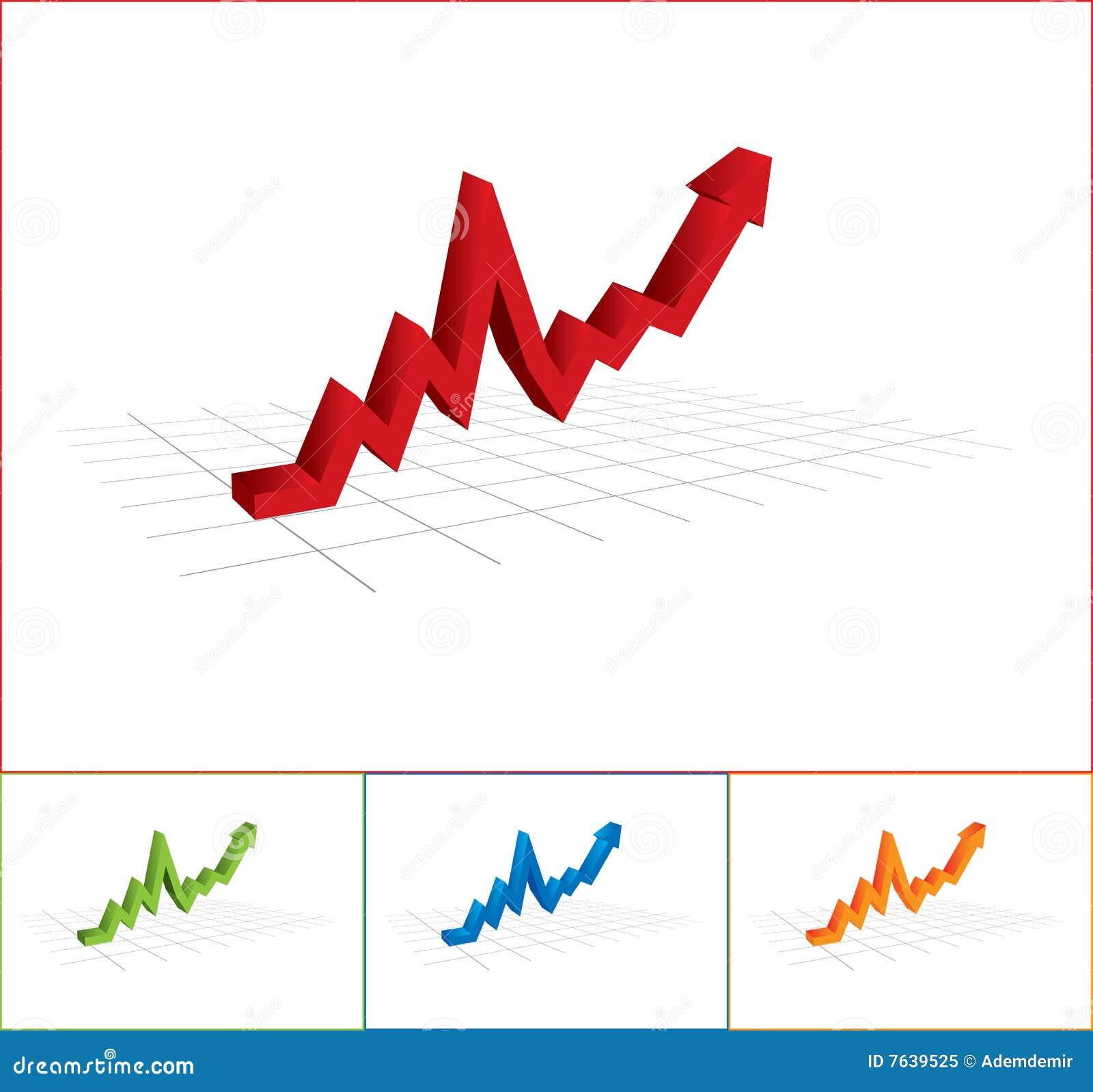 Graphique de gestion avec la flèche vers le haut