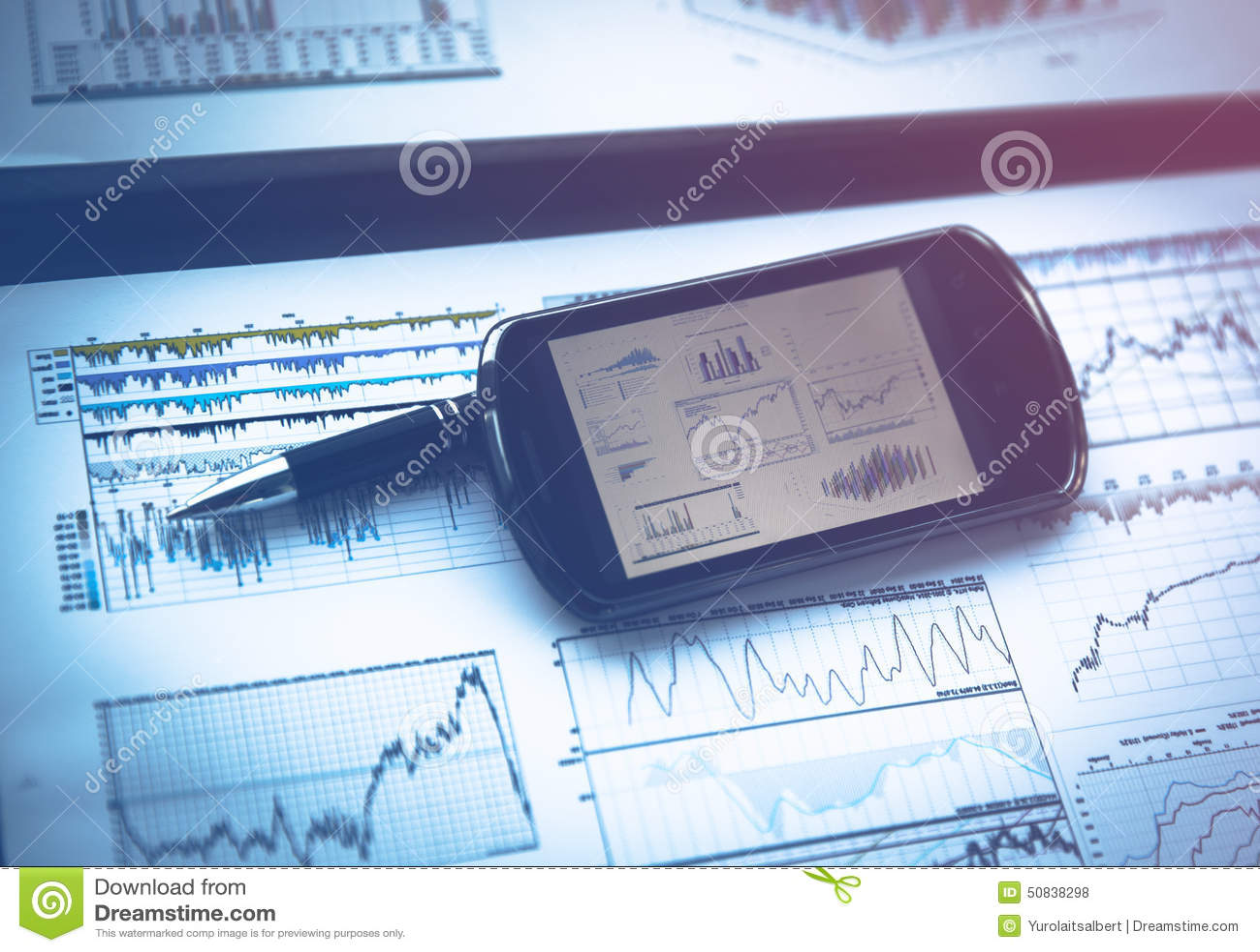 Graphique de gestion avec le téléphone intelligent