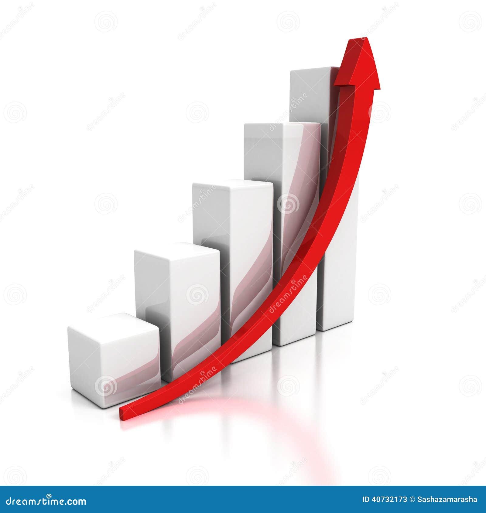 graphique de gestion croissant avec la fl che en hausse illustration stock image 40732173. Black Bedroom Furniture Sets. Home Design Ideas