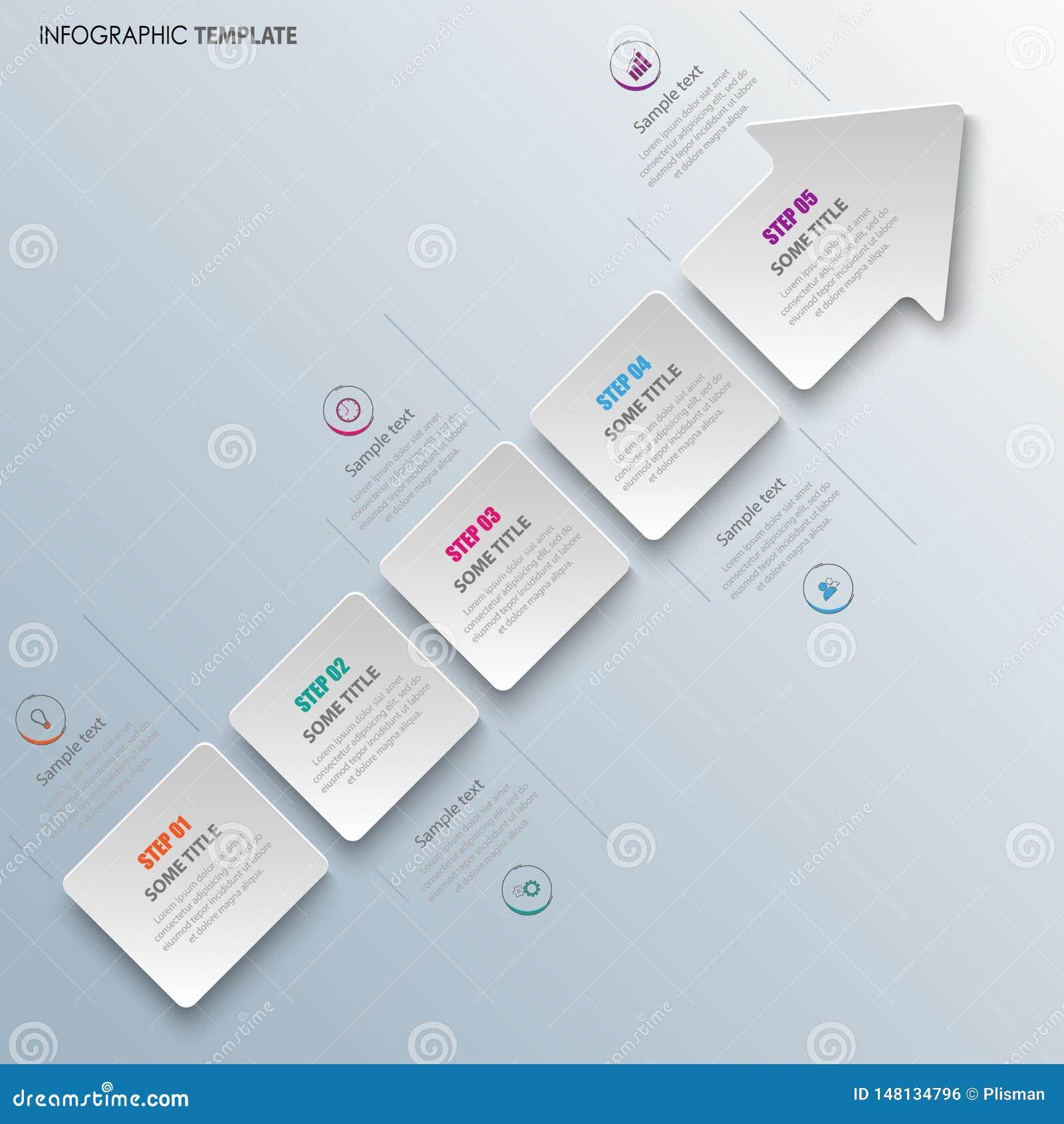 Graphique de l information avec la flèche abstraite dans la conception blanche