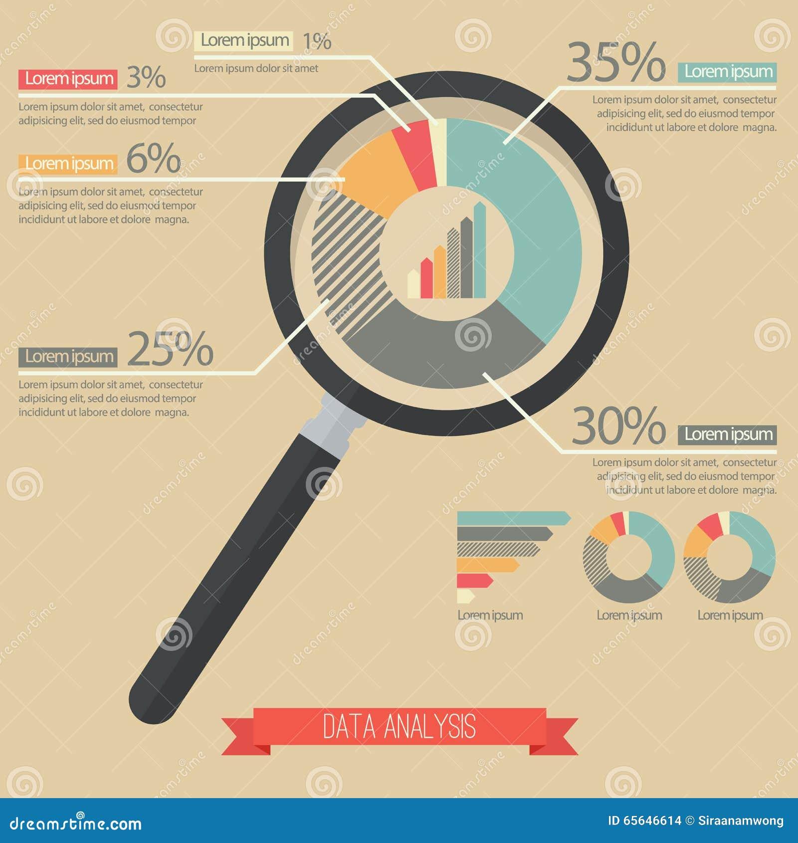 Graphique de loupe et circulaire infographic