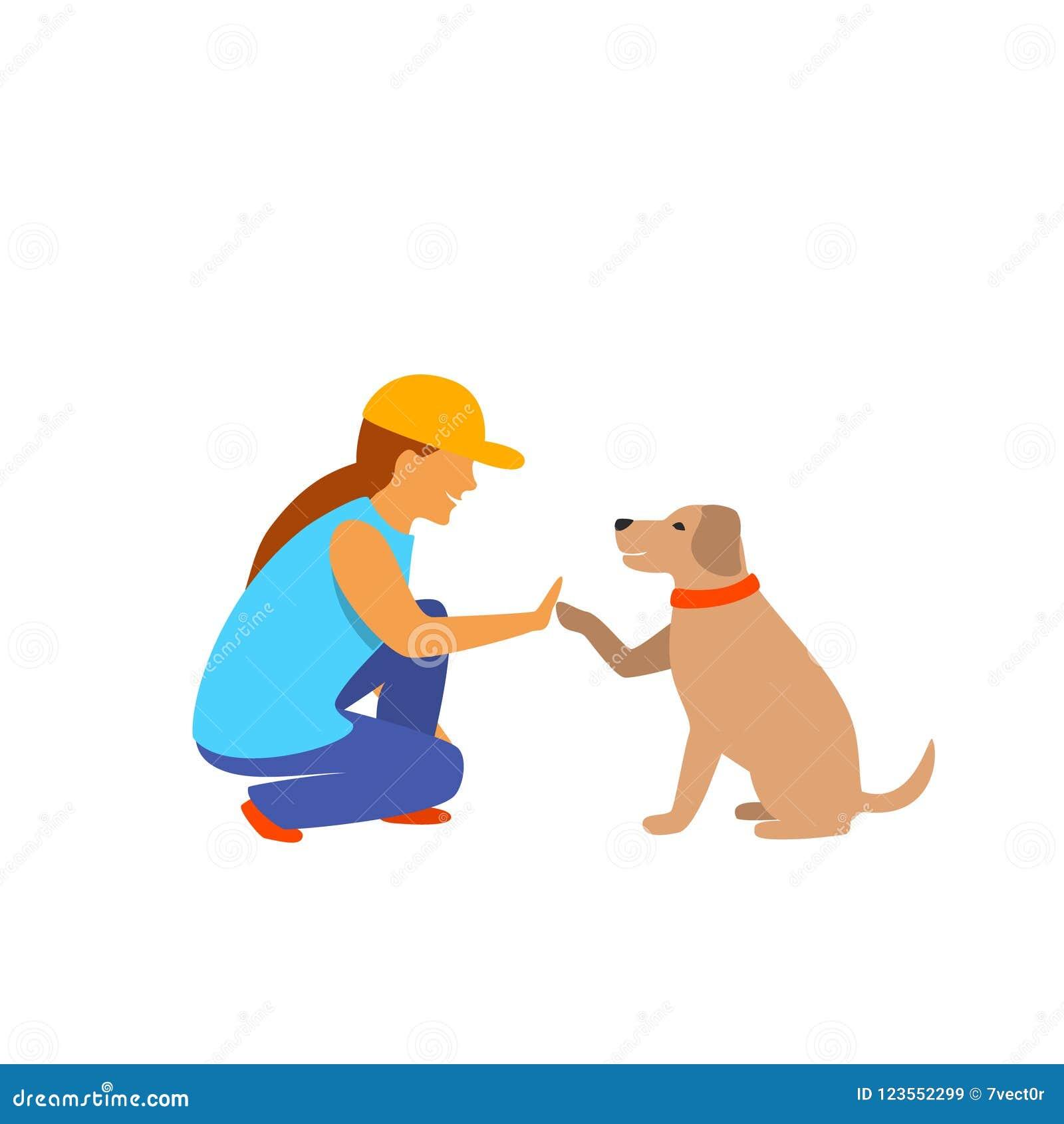 Graphique de vecteur d isolement par salutation de fille et de chien