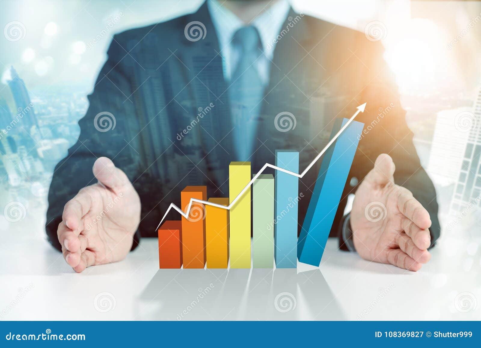 Graphique en hausse actuel d homme d affaires, croissance d affaires
